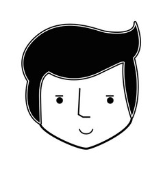 Contour happy man head and nice face vector