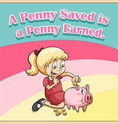 Cute girl saving money vector image
