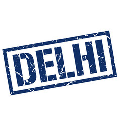 Delhi blue square stamp vector