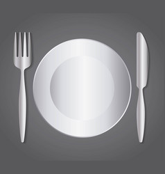 dish fork knife cutlery symbol vector image