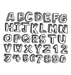 Doodles font handwritten in 3d style vector