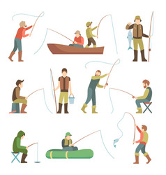 Fisherman flat icons fishing people with fish and vector