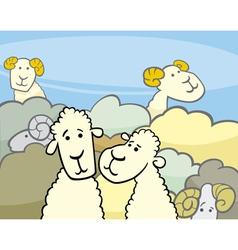 Flock of sheep cartoon vector