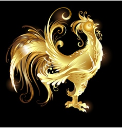 gold rooster vector image