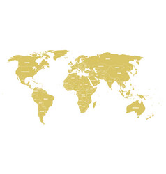Golden political world map with country borders vector