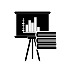 Graph chart and book stack icon vector