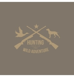 Hunting Vintage Emblem with Guns and Dog vector image