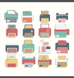 Icon color printer set vector