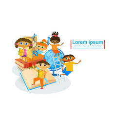 kids learing together small children visiting vector image