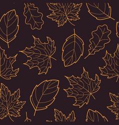 Leaves seamless outline orange dark vector