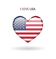 love usa symbol flag heart glossy icon vector image vector image