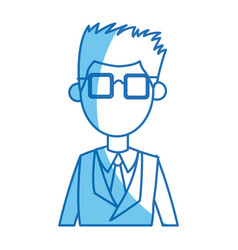 Man young blue suit and tie glasses blue line vector