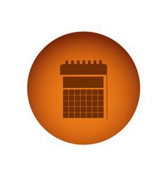 Orange emblem calendar icon vector