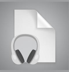 paper symbol headphones vector image vector image
