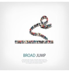 People sports broad jump vector
