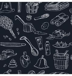 Sauna accessories doodle seamless pattern sketch vector