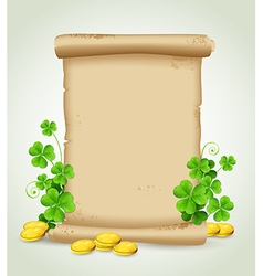 Scroll clover leaves and golden coins vector