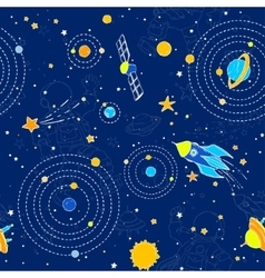 Seamless pattern with UFOs planets stars and vector image vector image