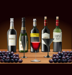 set of glasses wine and champagne bottles vector image vector image