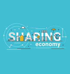 Sharing economy line concept vector
