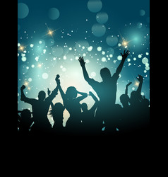 silhouette of an excited party crowd vector image vector image