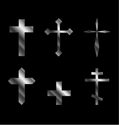Silver christian crosses in different designs vector