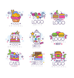 sweets logos set confectionery and bakery vector image