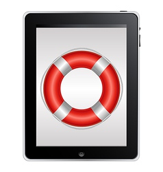 Tablet computer with red life buoy vector
