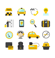 Taxi app flat icons set vector