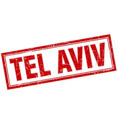 Tel aviv red square grunge stamp on white vector