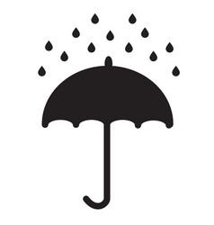 umbrella and rain drops on white background vector image