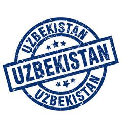 Uzbekistan blue round grunge stamp vector