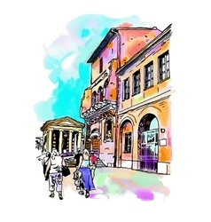 Original digital watercolor drawing of rome street vector