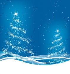 Two blue christmas trees vector