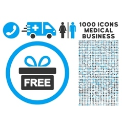 Gift rounded icon with medical bonus vector