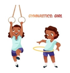 African american girl doing gymnastic exercises vector
