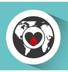 Sign donation blood heart donor icon vector