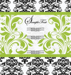 Damask lime shower invitation card vector