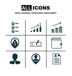 set of 9 human resources icons includes job vector image