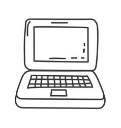 Monochrome contour of laptop computer vector