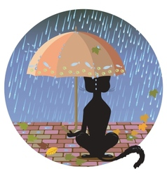 Cat in the rain vector
