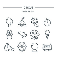 Circus icons line set vector