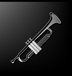 Musical instrument trumpet sign  gray 3d vector
