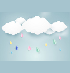 Rainy fall and clouds background paper art style vector