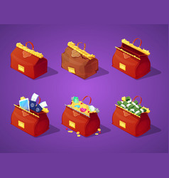 traveling bags with money for game interface vector image