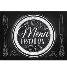 Menu restaurant chalk vector