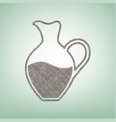Amphora sign  brown flax icon on green vector