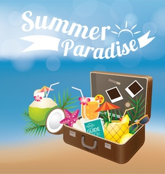 Summer suitcase with objects on blur background vector