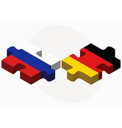Russian federation and germany flags in puzzle vector