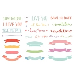 Vintage hand drawn romantic set vector